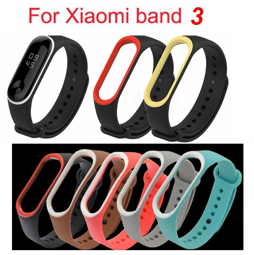 MiBand 3 Silicone Wrist Strap Bracelet Double Color Replacement Watchband For Original Xiaomi Mi Band 3 Wristbands Belt Rubber