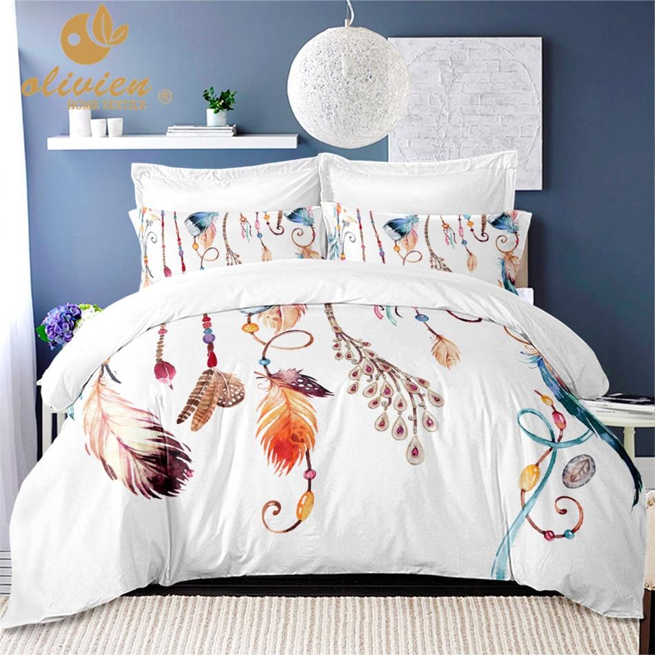 Dream Catcher Comforter Bedding Sets Feather Duvet Cover Queen White King Size Bedding Set Boho Home Textile White Bed Linen 25