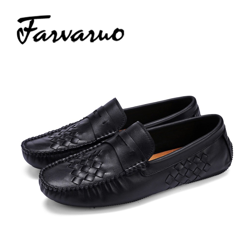 Farvarwo Italian Mens Loafers Soft Genuine Leather Slip Ons Driving Shoes for Men Casual Flats Moccasins Dress Shoes 2017 Black flat bottomed luxury mens loafers mark thread heel cover pedal leather strappy solid italian cowhide slip resistant soft leather