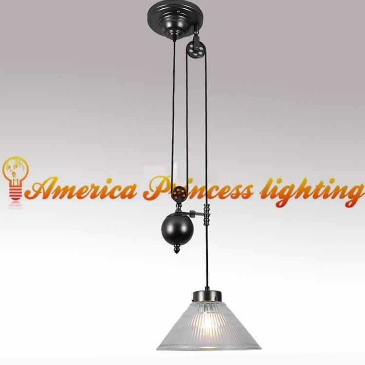Américain rétro nostalgie poulie ascenseur verre lustre restaurant étude lampe lumière, matériel fer, E27, AC110 240V - 2