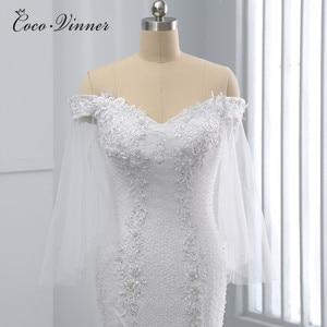 Image 1 - فستان زفاف بحورية البحر أبيض نقي مطرز بالخرز من الكريستال بتصميم أفريقي جديد بالإضافة إلى حجم فساتين زفاف WX0097