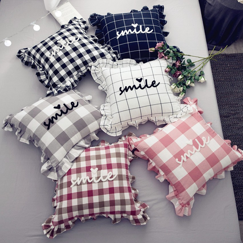 Nordic Style Black And White Plaid Pillow Cushion 45 65cm