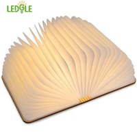 LEDGLE LED Wooden Book Lamp USB Rechargeable Folding Night Light Creative Book light Night Lamp for Decor or Lighting Warm White