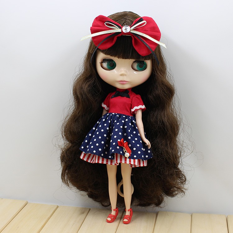 Neo Blythe Doll Red Blue Dress with Bowknot 2