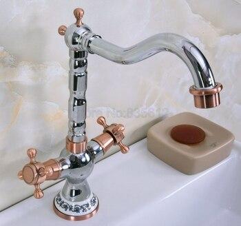 Polished Chrome Basin Faucets Bathroom Sink Faucet 360 Swivel Spout Double Cross Handle Bath kitchen Mixer Taps tnf902