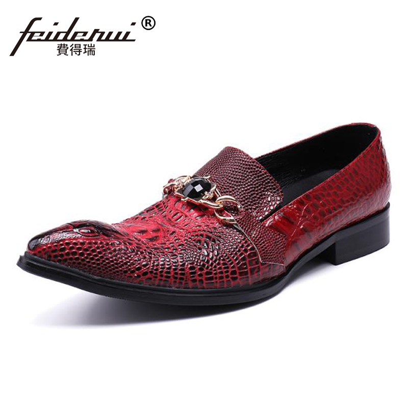 Plus Size Luxury Pointed Toe Slip on Man Alligator Wedding Party Loafers Genuine Leather Rhinestone Men