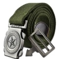 2016 fashion brand men casual canvas belt luxury knitted Metal Buckle military outdoor designer belts for men army green 110cm