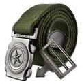 2016 hombres de marca de moda casual de lujo de la correa de lona de punto Hebilla de Metal cinturones de diseño para hombres al aire libre militar del ejército verde 110 cm