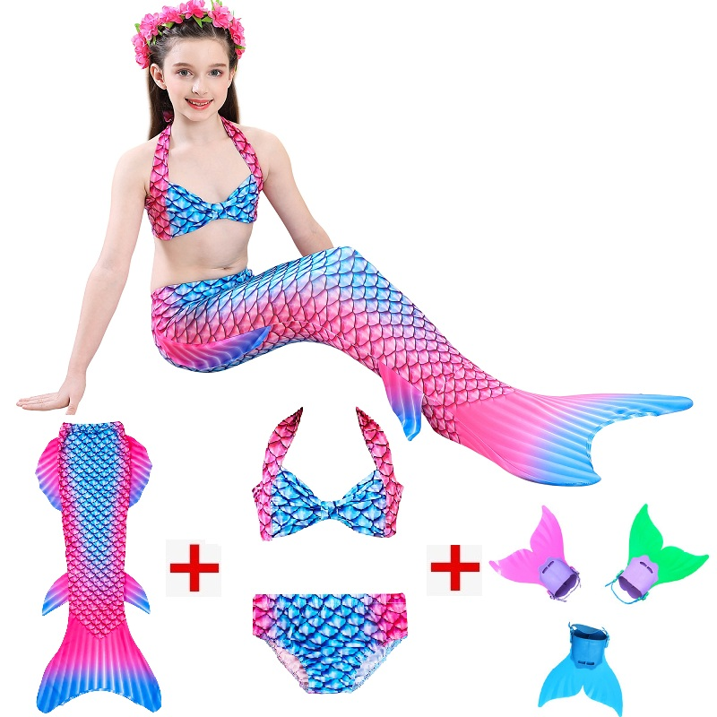 2019 New Style Kids Mermaid Tails for Swimming and cosplay Mermaid tail with Monofin Girls Costumes Swimsuit with Bikini