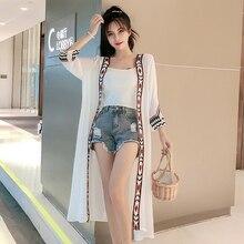 цены на Plus Size Big White Chiffon Long Sheer Beach Casual Kimono Cardigan Women Blouse Shirt Floral 2019 Summer Vintage Black Clothing  в интернет-магазинах