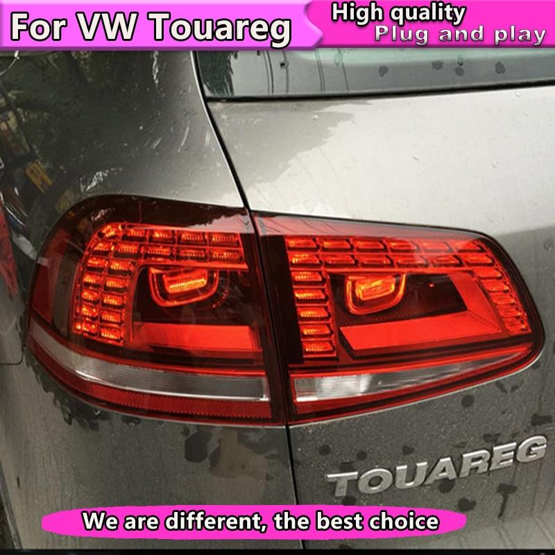 Car Styling for VW Touareg taillight 2011-2014 Touareg LED Tail Lamp rear trunk lamp cover drl+signal+brake+reverse