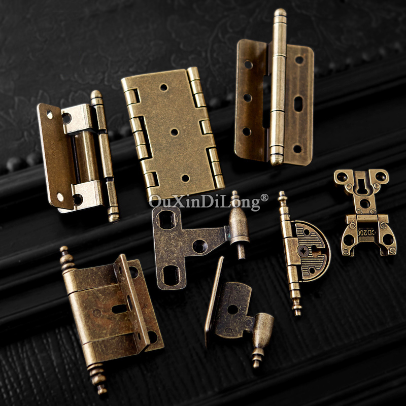 12PCS European Antique Metal Furniture Hinges Cabinet Door for Cupboard Kitchen Bronze Q605