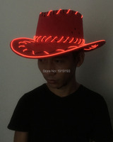 Popular Euoamerican Style EL Rope Western Cowboy Handsome Hat Neon Led Bulbs Summer Beach Cap For