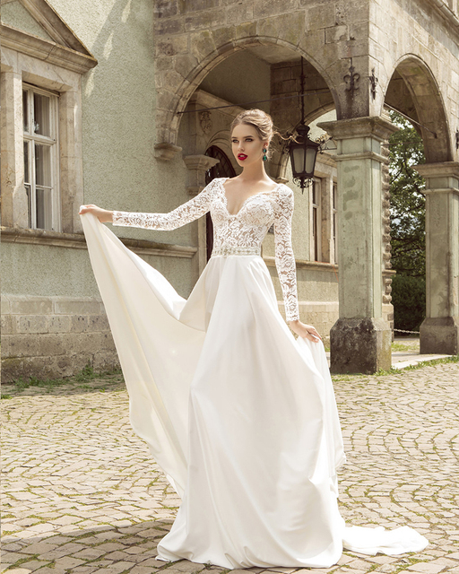 2017 New Design Deep V Neckline Full Sleeve fantasy Wedding Dress ...