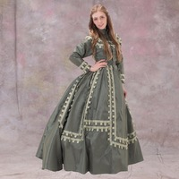 1860s Day Dress Ball Gown Victorian Full Sleeves Cosplay Dress Classic Medieval Dress Vintage Cosplay Wedding Dress