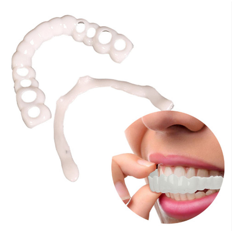 Natural Cosmetic Fake Tooth Cover Funny Toys Snap On Silicone Perfect Smile Veneers Teeth Beauty Tool Teeth Gift For Men Women