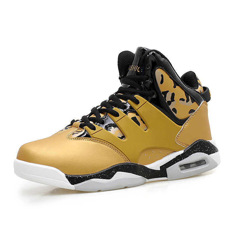 b897c7972eb4 Hot Sale Basketball Shoes Lebron James High Top Gym Training Boots  Gold White Boots Outdoor