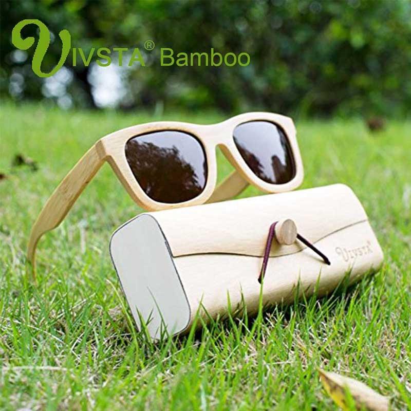 IVSTA käsitööna valmistatud bambusest päikeseprillid meestele Bambu polariseeritud läätsed puidust tõelised kohandatud naiste peeglid naturaalsest puidust päikeseprillid VB01