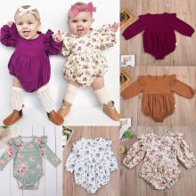 Long Butterfly Sleeve Cotton Romper 0-3Y