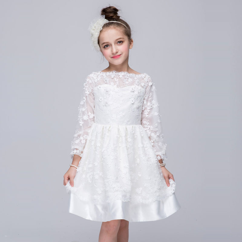 Autumn Winter Hot Sale New Arrival Satin Cotton Solid White Color Lovely Lace Mesh Princess Christening Long Sleeve Formal Dress hot sale new arrival spring autumn
