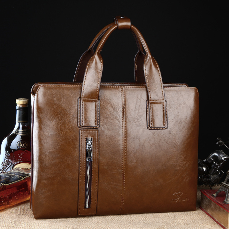 ФОТО England style Men Genuine Leather Handbags High Quality 14 inches Computer Bags Men Business Leather Messenger Bags Brown/Khaki