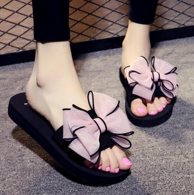68b7e57c3 2018 Bow Thong Jelly Shoes Woman Jelly Flip Flops Women Ladies Flat Slippers  Zapatos Mujer Sapatos Femininos