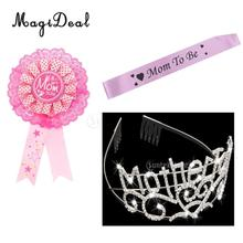 Mom To Be Award Ribbon Badge Satin Sash Mother To Be Diamante Tiara Headband Baby Shower Favors Gift
