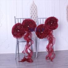 SH091A хорошее свадебное украшение хороший рождественский органза цвета Бургунди цветок курчавая ива frilly стул створки с кристаллами
