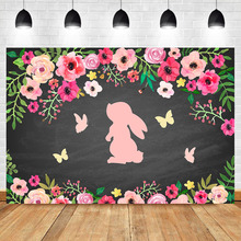 NeoBack Pink Bunny Baby Shower Backdrop Girls 1st Birthday Photography Backdrops Spring Flower Butterfly Background