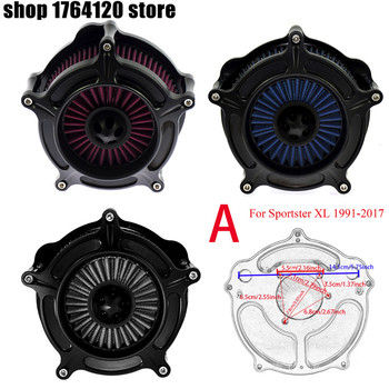 Motorcycle Turbine Air Cleaner Intake Filter Kit For Harley Sportster XL 883 1200 1991-2017 Gray Blue Red Element