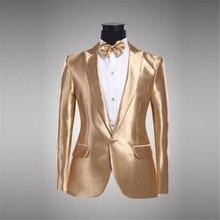 Mens 2018 New Blazer Veste Costume Homme Gold Jacket Men Gold Blazer For Men Golden Jacket Chaqueta Hombre Blazer Hombre