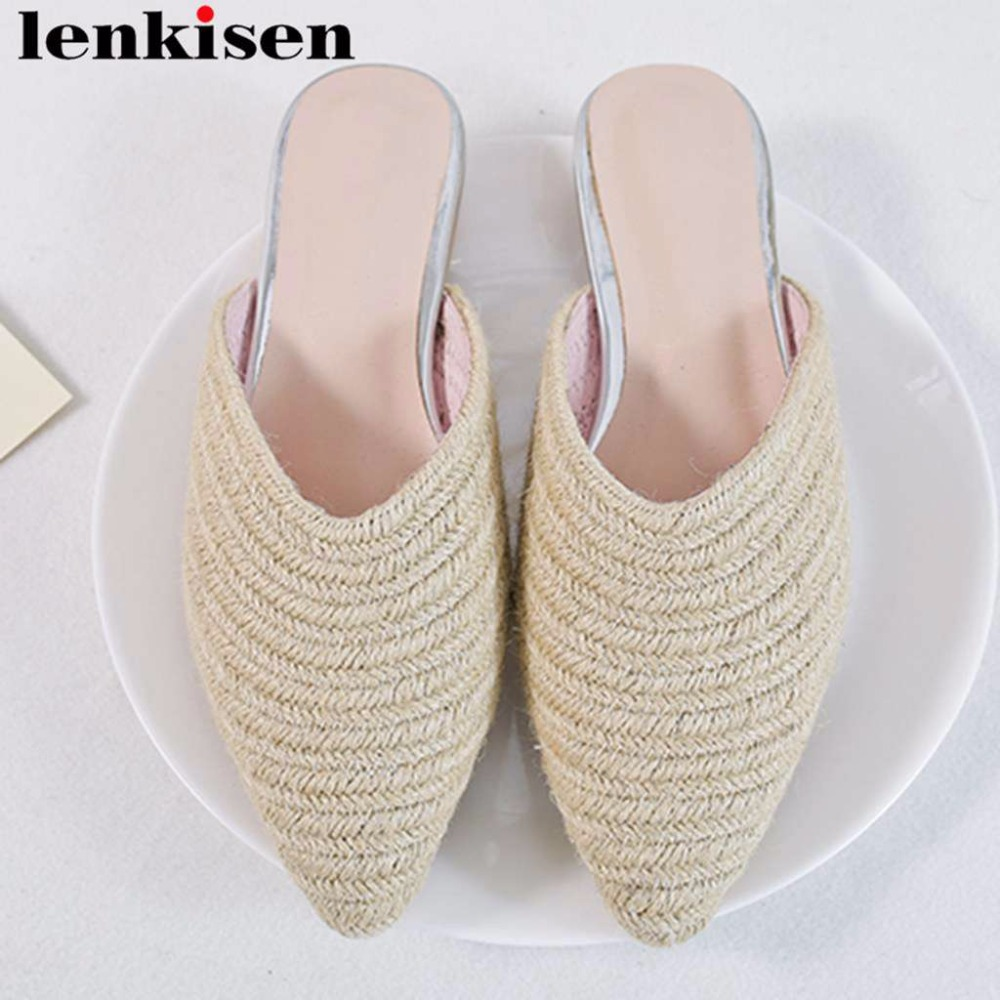 Lenkisen straw weaving material slip on mules pointed toe women pumps low heels natural leather simple