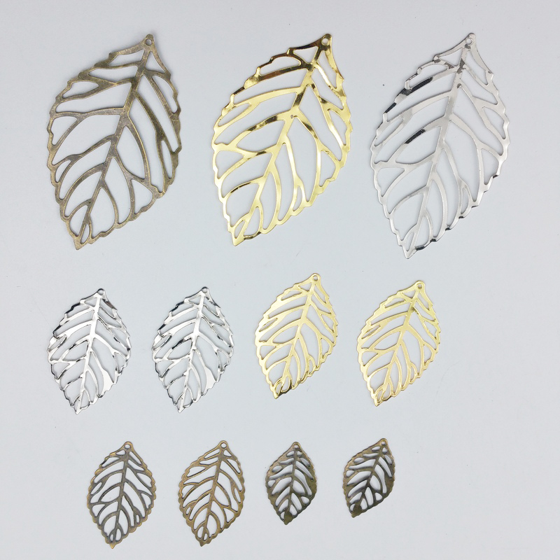 50pcs  Filigree Flower  Leaf  Wraps Metal Charms For Embellishment Scrapbook  DIY Jewelry Metal Craft  Wraps Ear Accessories