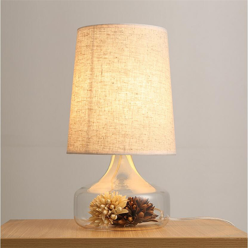 Modern Fashion Handmade Country Clear Glass Vase Fabric Led E27 Table Lamp for Wedding Decor Living Room Bedroom Restaurant 1452