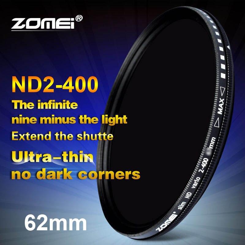 Zomei 62mm fader variable nd filtro ajustable ND2 a nd400 nd2-400 densidad neutra para Canon Nikon hoya Sony Objetivos para cámaras 62mm