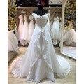 Vestidos De Novia Custom Made Vestido de Noiva Vintage Branco/Marfim Applique Beading Destacável Train Lace Vestido de Noiva vestido de Noiva