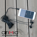 AriMic 6m Dual-Head Lavalier Lapel Clip-on Microphone for Lecture or Interview for Smartphone Mobile phone and Tablets