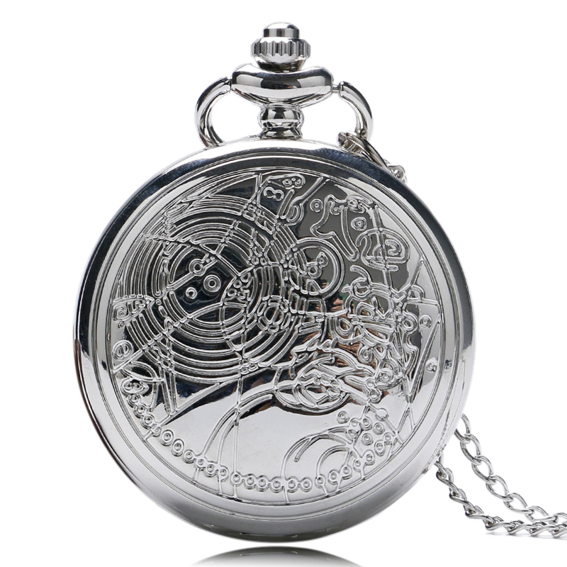 YISUYA Steampunk Doctor Who Silver Pocket Watch Necklace Vintage Retro Long Chain Pendant Fashion Gift For Men Women