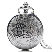 цена на Gift Women Men Doctor Who Silver Necklace Steampunk Vintage Retro Pendant Full Hunter Pocket Watch Quartz Long Chain