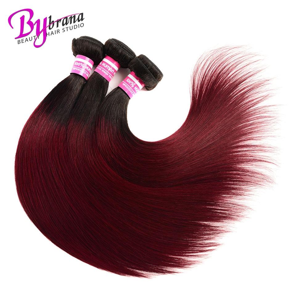 3 Bundles Deal Ombre 1bburgundy Mink Brazilian Hair Weave Bundles