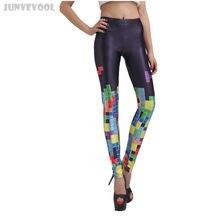 6a4e971bf07d9 Sexy Club Leggings Sexy Women's Seamless Fitness Pants Black Capris Black  Middle Waist Pants Funky Game Multicolor Tetris Print