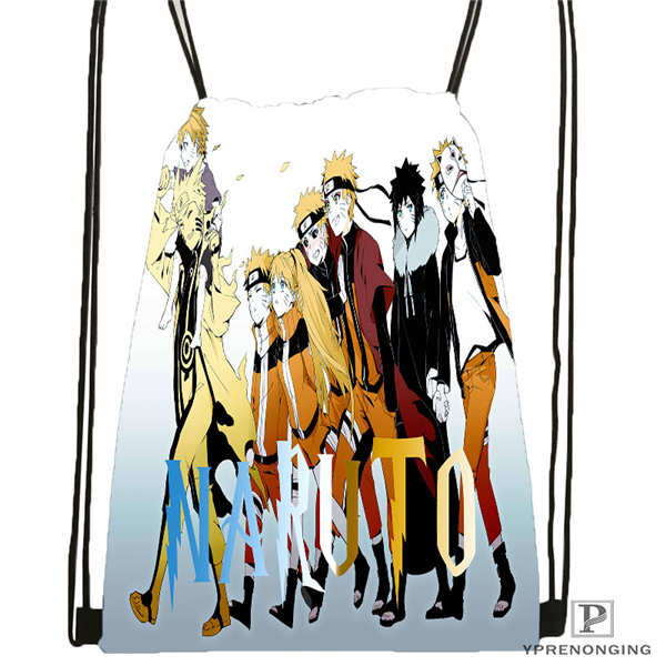 Custom Naruto    Drawstring Backpack Bag Cute Daypack Kids Satchel (Black Back) 31x40cm#2018611-2(5)
