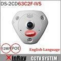 HIK DS-2CD63C2F-IVS 12MP 360 Graus Fisheye Câmera de Rede IP Câmera de CCTV com Construído em Mic Speaker Dual Audio