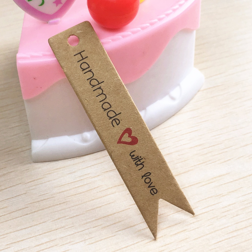 100pcs 7*1.5cm Kraft Paper Thank You/hand Made With Love  Christmas Gift  Tags For DIY Gift Box/product Packing Labels/price Tag