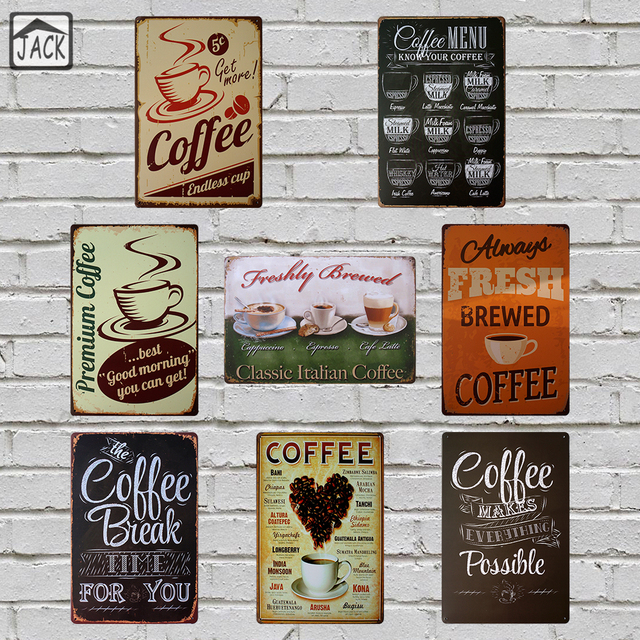 Fresh Brewed Coffee Menu Metal Plaques Cafe Bakery Shop Kitchen Vintage Home Wall Decor Poster Retro