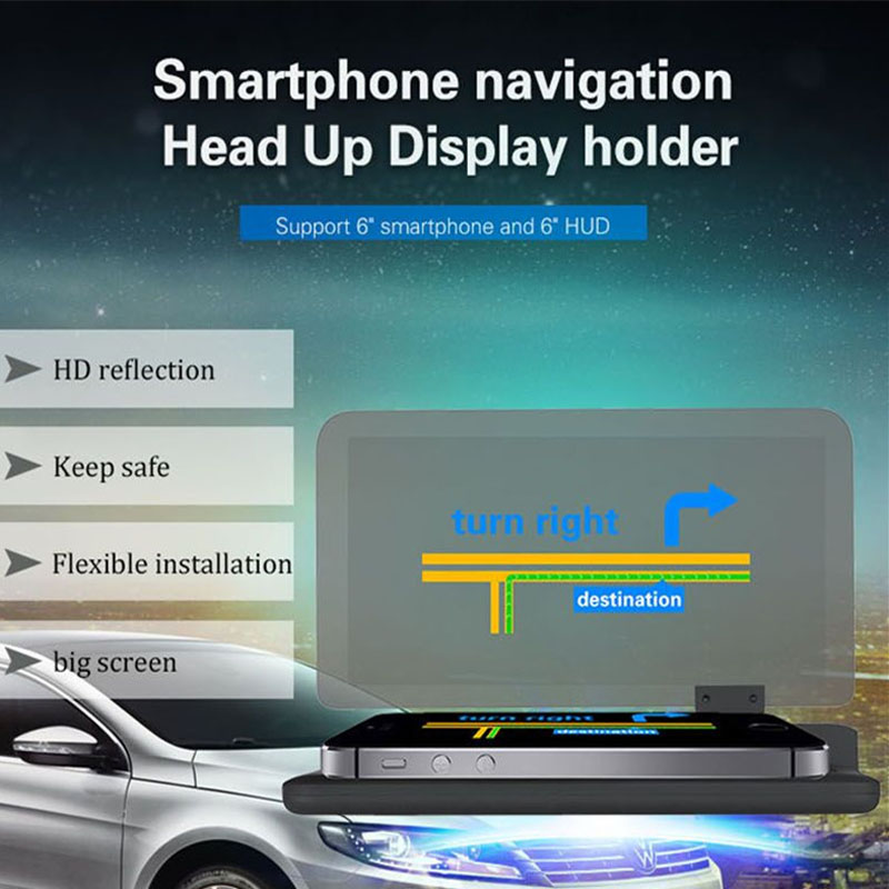 Maksimālais 6 collu HD atstarotājs automašīnu HUD GPS navigācijas projektora attēls - viedtālruņa turētājs H6 HUD galvas augšdaļas displejs