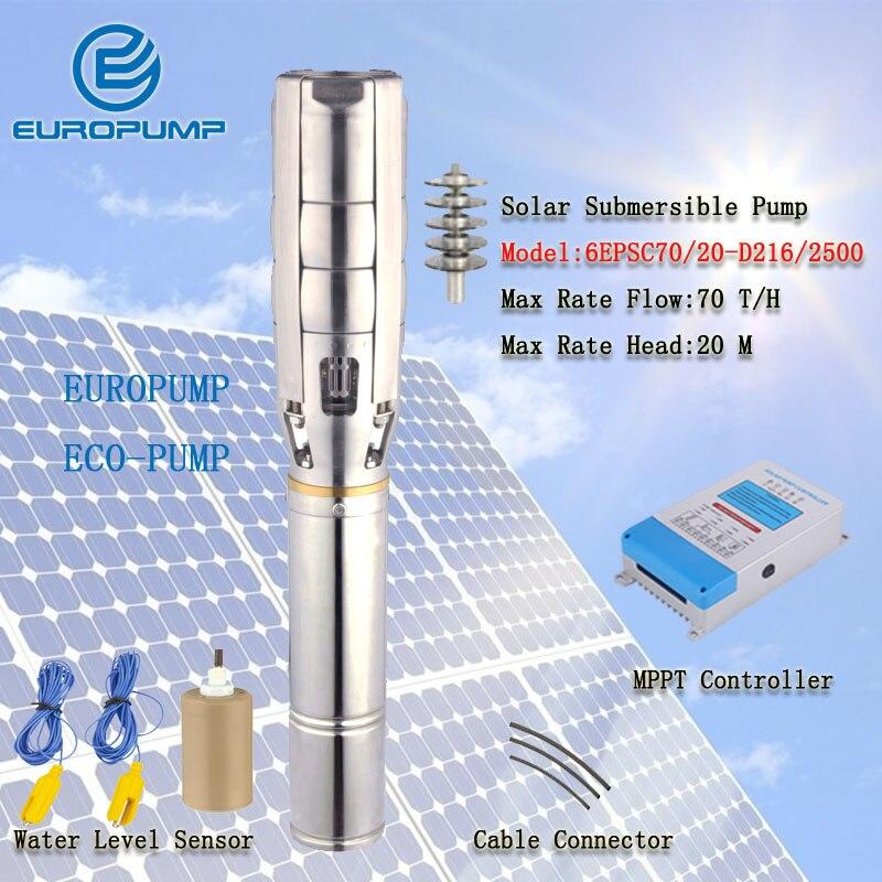 Modèle EUROPUMP (6EPSC70/20-D216/2500) système de pompe à eau à énergie solaire, pompe submersible solaire pour l'irrigation agricole avec MPPT