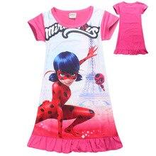 De dibujos animados Pijamas Para Niñas Vestido de Verano de Manga Corta Milagrosa Mariquita Disfraz Para Niñas Adolescentes Vestidos Para Niñas 3-10 años(China (Mainland))