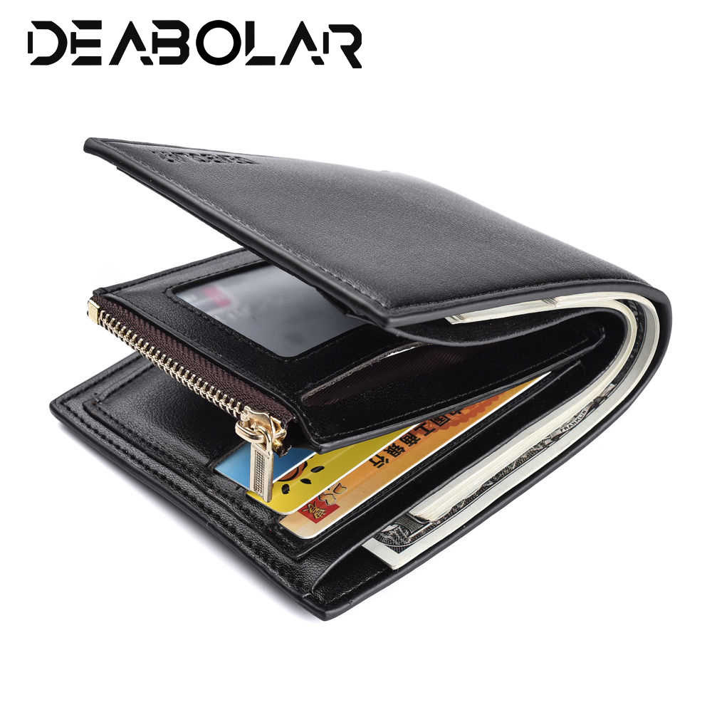 24f8351d7153 Mens Small Fashion High Quality PU Leather Quality Designer Wallet Black  Brown Soft Standard Credit ID