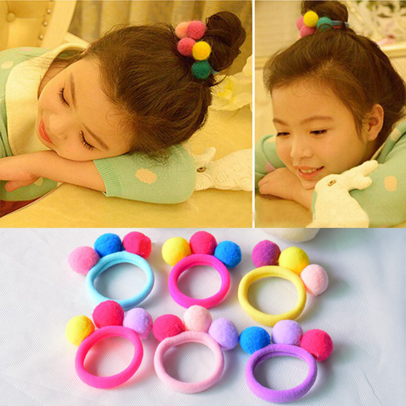 Hot Sale 2017 New Cute 3 Balls Elastics Hair Holders Bands Gum Fashion Kids..